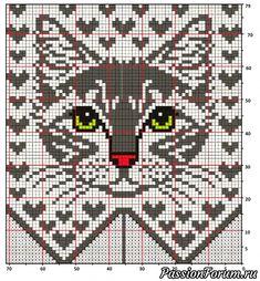 Crochet Mittens Free Pattern, Fair Isle Knitting Patterns, Crochet Diagram, Knitting Charts, Crochet Chart, Crochet Flower Patterns, Cat Cross Stitches, Cross Stitch Art, Crystals
