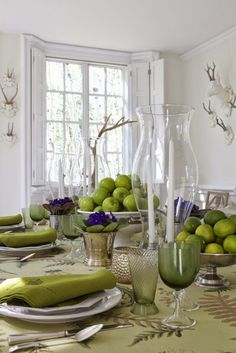Love clear glassware with candles. Allows entertaining conversation. The French Tangerine: ~ colorful glassware: part 1