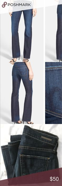 Citizens of Humanity Dita Bootcut Jeans Supersoft, lightweight stretch denim in a subtly distressed, dark-blue rinse, is shaped into a flattering bootcut style, proportionally designed for smaller frames. In great condition size 24=00. Citizens of Humanity Pants Boot Cut & Flare