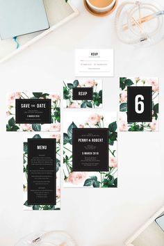 Modern Rose Wedding Invitations Pink Black Green by SailandSwan