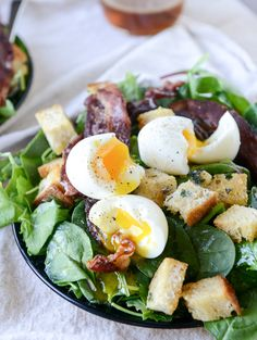 baby kale breakfast salad // soft boiled eggs, sourdough croutons, baby kale, spinach, bacon, maple-bacon vinaigrette