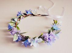 Spring Wedding Morning Glow Hair Crown, Pastel Blue and Purple Flower Headband, Woodland Fairy Crown.  #ets #weddings #kimart