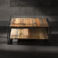 Coffee Table with Shelf Made of Metal and Recycled Wood from Old Fishing Boats
