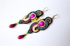 Long dangle drop boho ethnic soutache embroidered earrings colorful neon swirls eggshell, violet, pink, black soutache jewelry