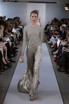 Oscar de la Renta Resort 2013 -- gold maxi skirt with a soft gold sweater. Even though this is a resort collection, I think this look is perfect for a holiday party!