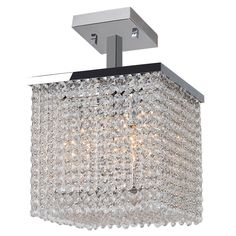 Glam Art Deco Style 4-light Crystal 10-inch Square Semi-flush Mount Ceiling Light