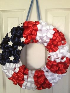 Red, White and Blue - Look closer...these are ribbon bows already made.....with added stars.
