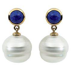 14 Karat Yellow Round Lapis and South Sea Pearl Dangle Earrings