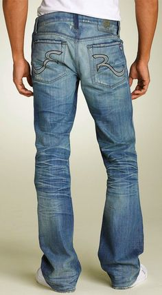 Rock & Republic 'Henlee' Bootcut (Avenge Blue Wash) Jeans, Retails at $229.00: Pale green embroidery on seam construction and back pockets stylishly contrasts with the dark blue wash of boot-cut jeans, softly faded and whiskered at the thighs and hip, Button fly, Five-pocket style, Embroidered logo patch at back waist, Branded nickel hardware.