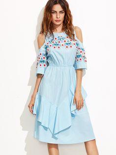 #AdoreWe #SheIn Dresses - SheIn Blue Crochet Applique Open Shoulder Ruffle Dress - AdoreWe.com