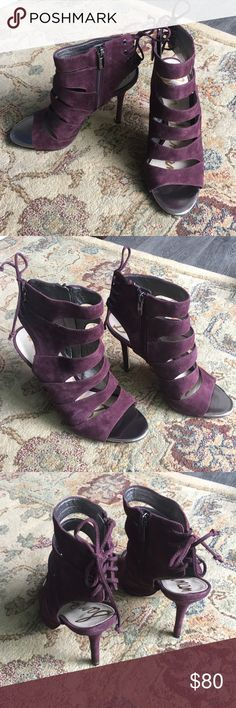 Sam Edelman suede heels Eggplant color Worn once; still in box Zipper side Lace up back  3-inch heel Sam Edelman Shoes Heels