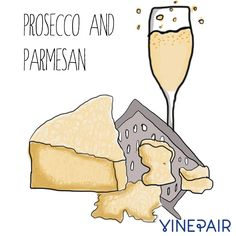Prosecco and parmesan are a perfect wine cheese paring