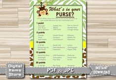 Printable Whats In Your Purse Monkey Whats In by DigitalitemsShop