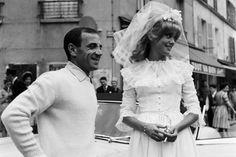 about French weddings: Le 30 juillet 1962, le chanteur Charles AZNAVOUR rend visite à l'actrice Catherine DENEUVE (âgée ici de 19 ans) en robe de mariée sur le tou...