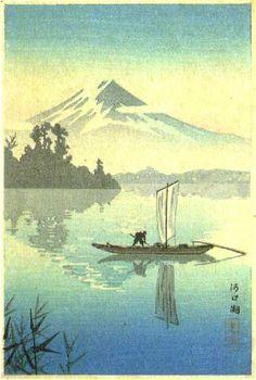 Fuji from Lake Kawaguchi Tsuchiya Koitsu, Japanese Art Prints, Japanese Artwork, Japanese Painting, Chinese Painting, Mont Fuji, Japanese Woodcut, Japon Illustration, Botanical Illustration, Japanese Landscape