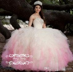 8e3cc26f4 2017 Pink And Ivory Quinceanera Dresses Tiered Ruffles Ball Gown Shiny  Silver Beading Crystal Tulle Sweetheart Lace Up Sweet 16 Dress Party  Quinceanera ...