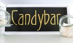 Candybar Schild, Candy Bar Aufsteller gold schwarz