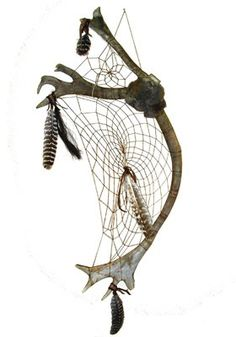 Webbed Cariboo Antler Dream Catcher by CreativeNative54 on Etsy, $250.00
