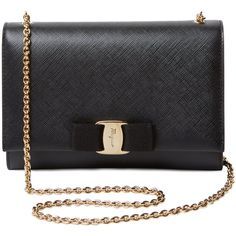 Salvatore Ferragamo Women's Small Saffiano Leather Vara Crossbody -... ($549) ❤ liked on Polyvore featuring bags, handbags, shoulder bags, black, bow purse, cross-body handbag, chain strap purse, chain strap handbags and salvatore ferragamo purse