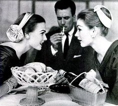 """Chignon hats"" are worn here in two different styles, available at Bergdorf's and Henri Bendel, photo by Francesco Scavullo, 1954"