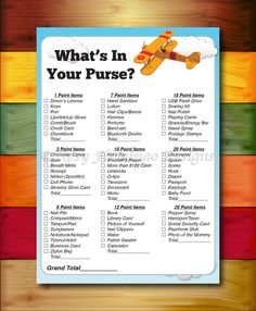 Baby Shower Game What's In Your Purse Game Shower Game