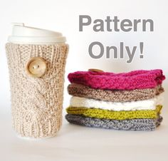 Knitted Cable Travel Mug Cozy Pattern by CreationsFromBoredom, $5.00