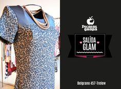 Vestido animalprint combinado con cuero. En liquidación Otoño! #Trelew #Pecarasguapa #otoño #liquidacion #abrigo #tendencias #2015 #UnaStudio