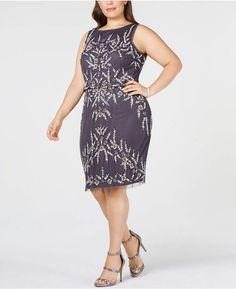 bace30e2592 Adrianna Papell Plus Size Beaded Sheath Dress Silver Dress