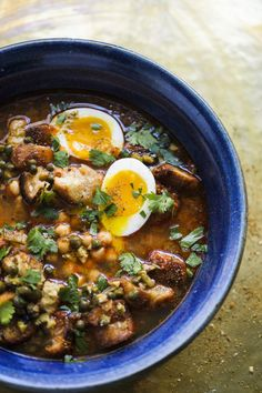 Lablabi (Chickpea and Harissa Soup)taken from Christopher Kimball's Milk Street Veggie Recipes, Soup Recipes, Cooking Recipes, Healthy Recipes, Recipies, Veggie Meals, Veggie Food, Bean Recipes, Cooking Ideas