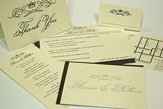 Invitation, RSVP, Map, Menu, Table Card and Thank you card $6.70/set when ordering 100+