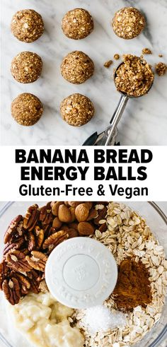 These banana bread energy balls make for a deliciously sweet yet healthy snack. They're filled with nutritious, good-for-you ingredients. And is an easy, no bake recipe! #energyballs #healthysnack #bananabread #nobake No Bake Snacks, Gluten Free Snacks, Vegan Snacks, Easy Snacks, Healthy Treats, Healthy Baking, Snack Recipes, Baking Recipes, Healthy Holiday Recipes