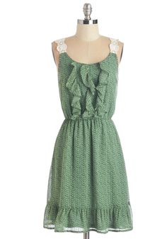 Beneath the Fluttering Leaves Dress. Every time you wear this green dress, you recapture the feeling of lying in a field beneath the elms. #green #modcloth