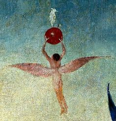 Hieronymus Bosch, The Garden of Earthly Delights, central panel, detail, winged man with fruit flies to Heaven, oil on panel (Museo del Prado)