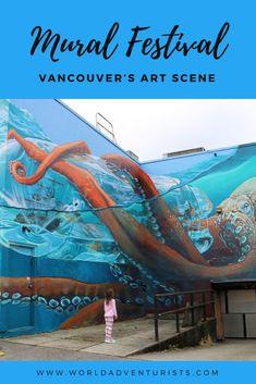 Exploring Vancouver's art scene at the Mural Festival. #Murals #Mural #Kraken #BritishColumbia #YVR #ToDoInVancouver #VancouverBC #Canada #Art Murals Street Art, Graffiti Murals, Street Art Graffiti, Places Around The World, Around The Worlds, Urban Graffiti, Amazing Street Art, Kraken, British Columbia