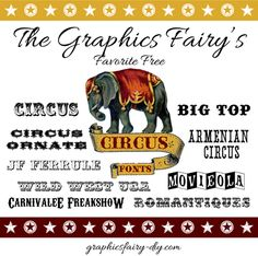 March Font Picks - Favorite Free Circus Fonts - Graphics Fairy - DIY (I use them for mod podge projects! Creative Fonts, Cool Fonts, Fun Fonts, Circus Font, Carnival Font, Carnival Themes, Typography Fonts, Hand Lettering, Elephant Silhouette