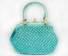 Vintage 70's Turquoise Beaded Handbag Purse Made in Italy