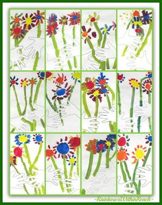 """Collage of Kindergarten """"Picasso-Inspired"""" Bouquets via RainbowsWithinReach PERFECT for Mother's Day!"""