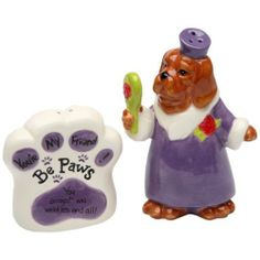 Appletree Design Be Paws You're My Friend Salt and Pepper Set, 4-Inch, You Accept Me Wrinkles and All by Appletree Design inc. $17.50. Ceramic and dolamite material. constructed with quality and durability in mind.. Functional and decorative salt and pepper set. Hand wash only, do not put in dishwasher. Comes gift boxed, will make a great gift for yourself or someone special. Unique and colorful, add fun and whimsy to your kitchen and home décor. Appletree Design is note...