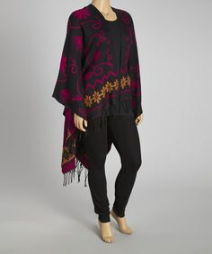 Take a look at this Black & Pink Silk-Blend Poncho - Plus by Life and Style Fashions on #zulily today!