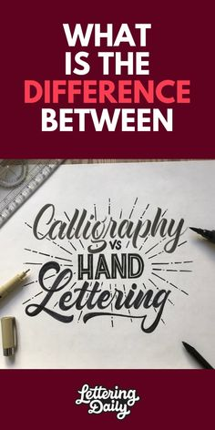 Are you getting confused by the difference between hand lettering and calligraphy? Don't worry in this post we are explaining everything in detail! Doodle Lettering, Creative Lettering, Brush Lettering, Lettering Design, Typography Art, Creative Art, Logo Design, Graphic Design, Calligraphy For Beginners