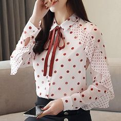 Buy online SHIRT DOTTED CHIFFON BOW for USD Harajuku high quality fashion clothing store. discounts up to Free worldwide shipping. Return and exchange Modest Fashion, Fashion Outfits, Womens Fashion, Style Fashion, Spring Fashion, Sleeves Designs For Dresses, Casual Outfits, Cute Outfits, Kurti Designs Party Wear