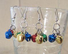 Christmas Jingle Bell Earrings Handmade Holiday by Pizzelwaddels, $7.97