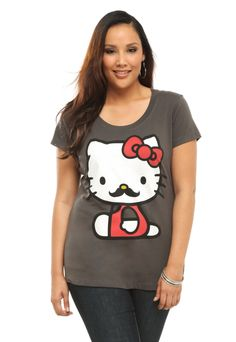 660b298e71c Doe - Hello Kitty Mustache Scoop Neck Tee