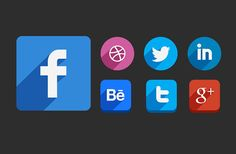 Some free vector shaped long shadow social icons provided in several shapes and sizes. Free PSD designed by Hakan Ertan.
