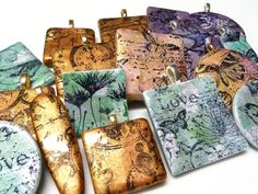 Stamped polymer clay pieces inspired by Debbie Crothers : by Dani Rapinett of The Whimsical Bead