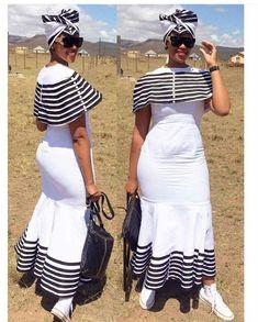 Xhosa traditional wedding attire for 2019 African Traditional Wedding Dress, Traditional Wedding Attire, Traditional Fashion, Traditional Outfits, Traditional Design, Xhosa Attire, African Attire, African Wear, African Women