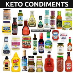 ⭐️ KETO CONDIMENTS ⭐️ Keto food doesn't have to be bland! Here are some condiments you can eat on Keto. Let'… - Keto Diet Tips Cetogenic Diet, Ketosis Diet, Diet Menu, Keto Sauces, Keto Bbq Sauce, Keto Ketchup, Comida Keto, Starting Keto Diet, Keto Food List