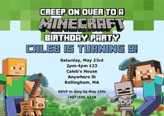 Minecraft Birthday Party Invitations Ideal For A Themed And Can Be Used Kids Of All Ages The Finished Are Affordable