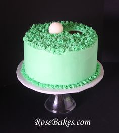 "Golf Ball on the Green Birthday Cake.  The cake is chocolate with chocolate buttercream, then decorated with vanilla buttercream ""grass"" and a chocolate golf ball!"
