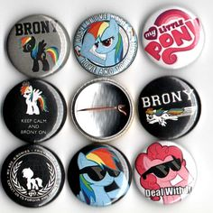 Hey, I found this really awesome Etsy listing at https://www.etsy.com/listing/163666575/brony-button-set-of-8-pinbacks-1